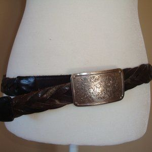 brighton floral silver buckle braided leather belt